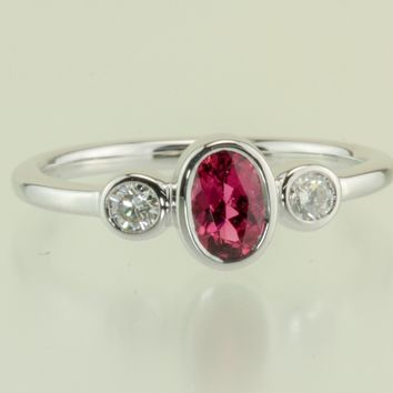 Pink Tourmaline and Diamond Bezel Set 18kt White Gold Ring