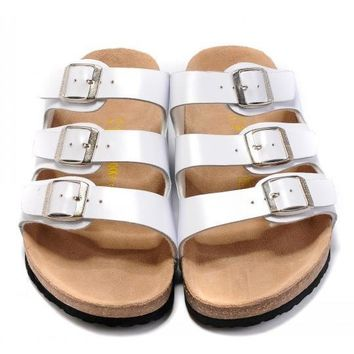 Birkenstock Leather Cork Flats Shoes Women Men Casual Sandals Shoes Soft Footbed Slippers-25