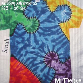 Adult Small Tie-Dye Puzzle Piece Tee