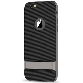 JETech Case for Apple iPhone 6 Plus and iPhone 6s Plus, Slim Protective Cover with Shock-Absorption, Carbon Fiber Design, Grey
