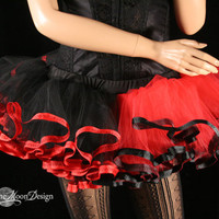 Harley quinn adult tutu mini black red skirt trimmed Adult halloween costume dance gothic derby run - You Choose Size - Sisters of the Moon