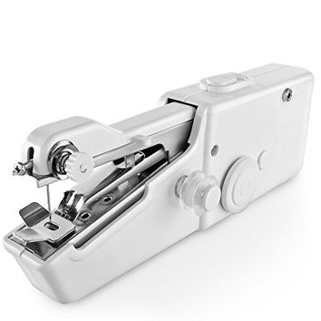Handheld Sewing Machine, Arespark Mini Portable Handy Electric Household Stitch Tool Easy Repair DIY Fabric Clothes in Home or Travel Use with Threads Needles Accessories