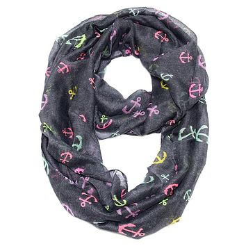 Anchor Confetti Infinity Scarf Dark Gray