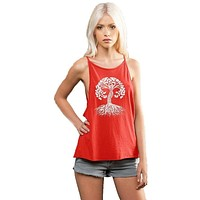 Yoga Clothing for You Womens Celtic Tree Spaghetti Tank Top - Poppy Red