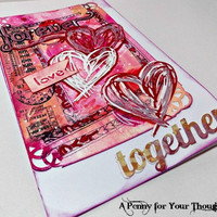 Forever Together Handmade Valentine Card . Ready to Ship.