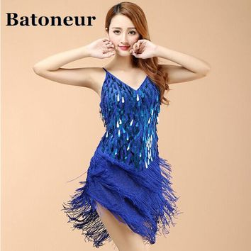 Shining V Neck Stage Clothing Costume Latin Dance Dresses Women Art Deco 1920s Gatsby Tassel Fringe Flapper Backless Dress