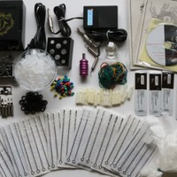 Complete Tattoo Kit with Machine Gun Power Supply, Needles, Inks + Accessories (K1)