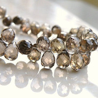 Smoky Quartz Briolette Gemstone Champagne Chocolate Brown Faceted 3d Teardrop 7.5mm 1/3 Strand Wholesale