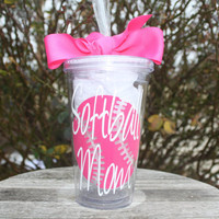 Softball MOM 16 oz tumbler