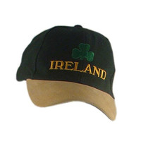 Baseball Cap With Embroidered Ireland And Shamrock, Green And Mustard Colour