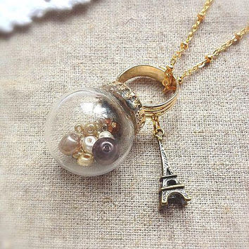 Antique Vintage Style Paris Glass Globe  Ring and Necklace