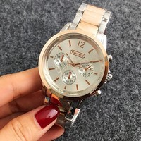 COACH  Hot Sale Vintage Fashion Classic Watch Round Ladies Women Men wristwatch On Sales 5-Color Rose gold silver G-Fushida-8899