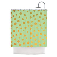 "Nika Martinez ""Golden Dots and Mint"" Green Gold Shower Curtain"