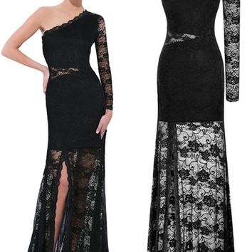 Black Patchwork Lace Hollow-out Asymmetric Shoulder Slit See-through Homecoming Party Maxi Dress