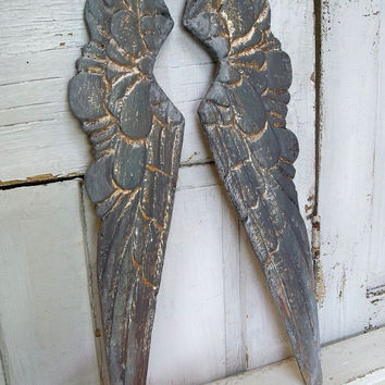 Wooden wings deep dramatic gray distressed gold carved french farm house shelf sculpture home decor Anita Spero