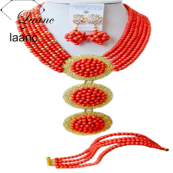 Brand Laanc 18inches Costume Jewelry Set Jewelry Sets Dubai African Beads Orange Coral Turquoise AL142