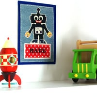 "Blue Robot Baby Name Signs 9"" x 7.5"", Fabric Wall Decal,  Iron On Patch, Baby Boys Nursery Ideas"