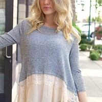 Night & Day Lace Trim Sweater (grey)