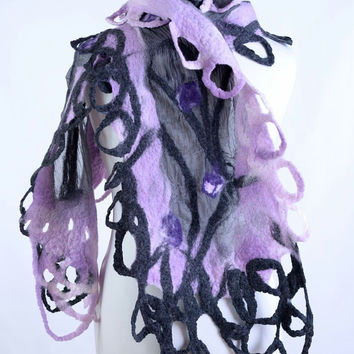 Pink & gray nuno felt scarf made on a sheer georgette - wool and silk nuno felted fashion shawl with light and airy design [S160]