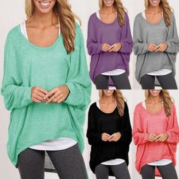 US Oversized Women Ladies Loose Long Sleeve Shirt Blouse Baggy Tops Jumper S-2XL