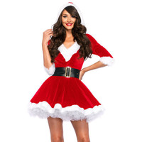 Women Christmas Clothes Sexy V Neck Tutu Hooded Dress One Piece Adult Santa Claus Cosplay Clubwear Costume FS0105