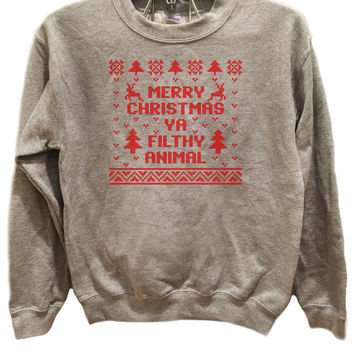 Merry Christmas Ya filthy animal Design 1- Ugly Christmas Sweater Red