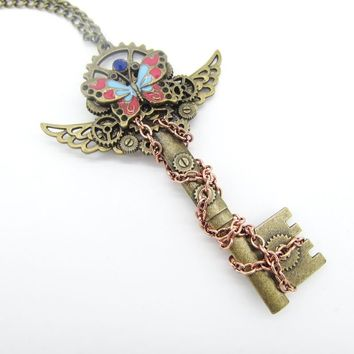 The New Unique Design Bass OX Key with Wings and Coloful Butterfly DIY Gears Steampunk Pendant Necklace Women Jewelry