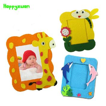 Happyxuan 4pcs/lot Kids DIY Felt Craft Kits Photo frame Cartoon Animal Picture Kindergarten Baby Creative Education Toys