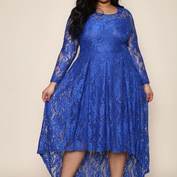 Royal Blue Fancy Lace Floral New Year Eve Plus Size Maxi Dress