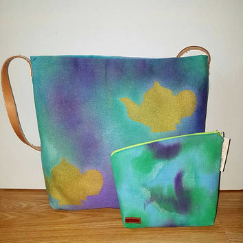 Teapot,Unique, watercolor style, hand painted, colorful, bohemian handbag, shoulder bag, boho bag