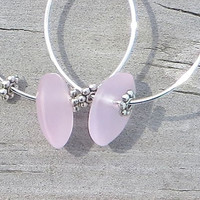 Sea Glass Hoop Earrings Blossom Pink by Wave of Life