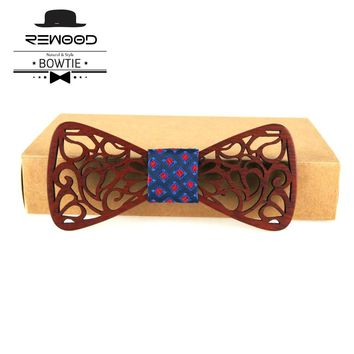 Rewood New Classic Hollow Wood Bow Ties for Mens Wedding Suits Wooden Bow Tie Butterfly Shape Bowknots Gravatas