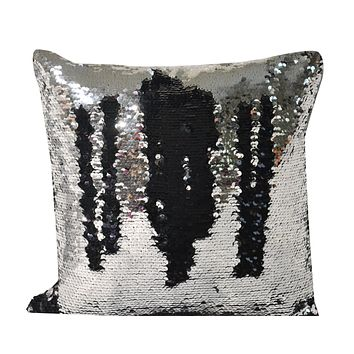 16*16 Silver and Black Decorative Throw Sequin Solid Pillow Cover Square , Hidden Zipper Design