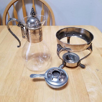 Vintage Silver and glass Carafe Pitcher with Silver Lid/stand and warming plate