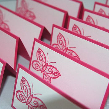 Pink Butterfly Place Cards Set of Twelve