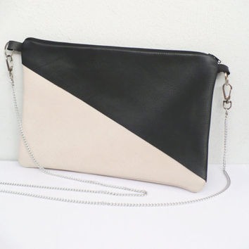 LEATHER BAG pouch clutch purse 3 colors variations ivory black brown blue pochette minimal valentine's day gift