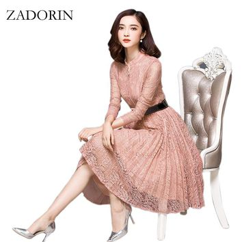 New Style Women Crochet Floral Long Sleeve Vintage Lace Midi Dress Elegant Casual Office Dress Fashion Cute Party Vestidos