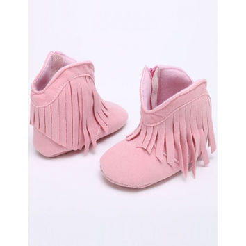 New Infant Newborn Baby Girl Soft Sole Boots Toddler Tassel Crib Shoes