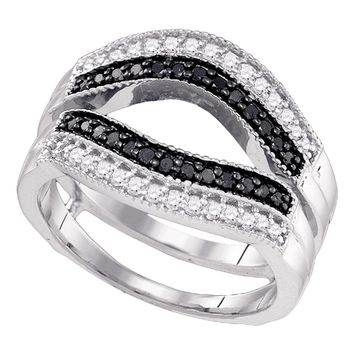 10kt White Gold Womens Round Black Color Enhanced Diamond Ring Guard Wrap Solitaire Enhancer 1/2 Cttw