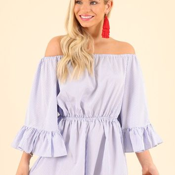 PRETTY IN PINSTRIPES ROMPER- BLUE STRIPE
