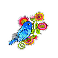Blue Bird Sticker Colorful Flowers Car Decal Laptop Decal Wall Art Bird Floral Art Yeti Decal Cute Car Sticker Vinyl Animal Sticker