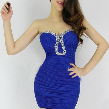 Blue Beaded Strapless Ruched Bodycon Mini Dress
