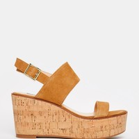 Steve Madden Caitlyn Tan Suede Cork Wedge Sandals at asos.com
