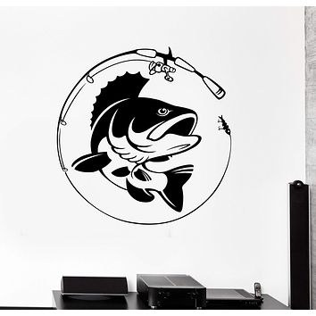 Vinyl Wall Decal Fish Fishing Rod Hobby Fisherman Stickers Murals Unique Gift (ig4677)