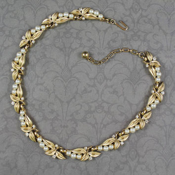Vintage Trifari 1950s to 60s Brushed Gold, Pearl and Rhinestone Leaf Necklace