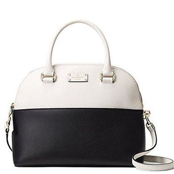 Kate Spade Grove Street Carli Leather Crossbody Bag Purse Satchel Shoulder Bag, Black Cement