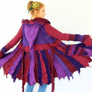 Pink Purple pixie jacket - One of a Kind - 100% WOOL - Large - Ready to Ship