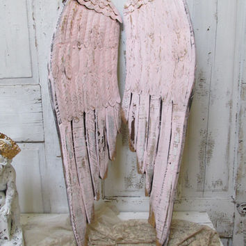Large wooden wings soft blush pink with hints of gold very distressed wood carved wall sculpture home decor anita spero