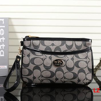 Coach Women Fashion Leather Clutch Bag Wristlet Handbag