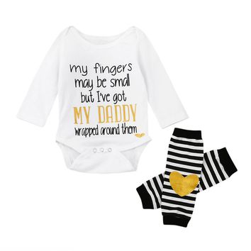 2pcs Baby Set Infant Newborn Kids Baby Girls Clothes Summer Long Sleeve Letter Print Cute Romper+Heart Leg Warmers Set 6-24M
